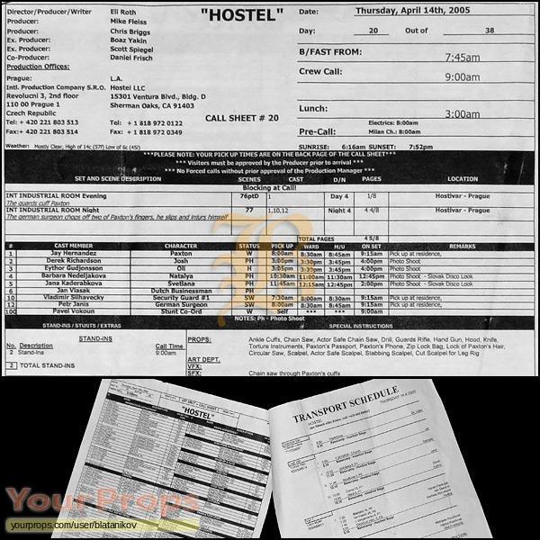 Hostel original production material