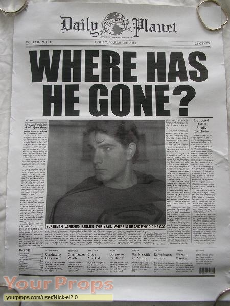 Superman Returns Daily Planet Newspaper Cover Replica
