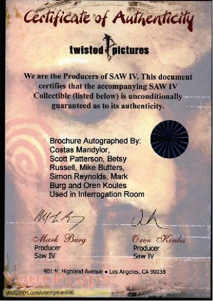 Saw IV original movie prop
