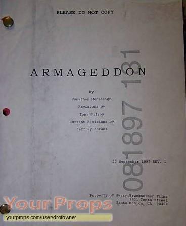 Armageddon original production material