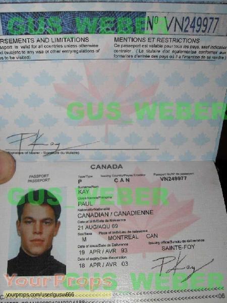 The Bourne Identity replica movie prop
