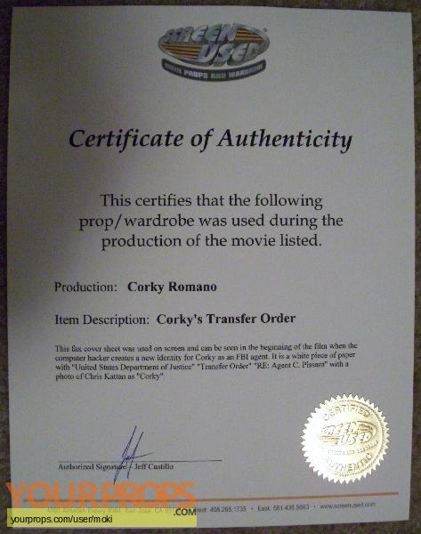 Corky Romano original movie prop