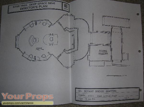 Star trek deep space nine directors plan blueprint defiant original production material malvernweather Images