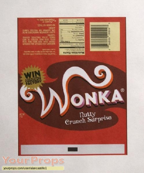 charlie and the chocolate factory nutty crunch surprise wonka bar wrapper replica movie prop