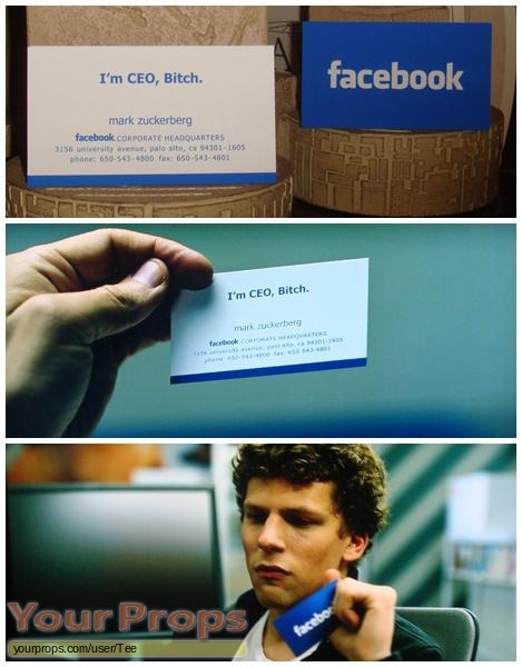 The Social Network Mark Zuckerbergs Business Card Replica Movie Prop