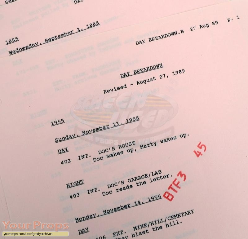 Back To The Future 3 original production material