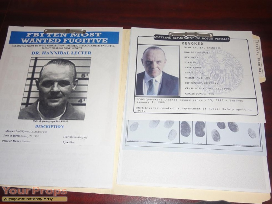 Hannibal Hannibal Lecter F B I File Replica Movie Prop