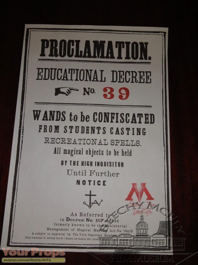 Harry Potter and the Order of the Phoenix replica movie prop