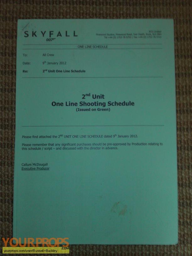 James Bond  Skyfall original production material