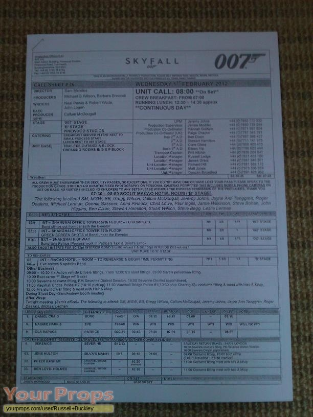 James Bond  Skyfall original production material