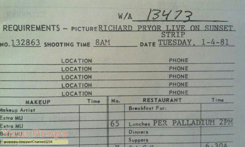 Richard Pryor Live on the Sunset Strip original production material