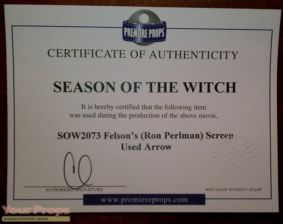 Season of the Witch original movie prop weapon