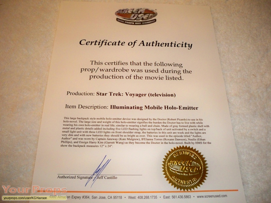 Star Trek  Voyager original movie prop