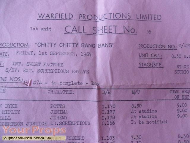 Chitty Chitty Bang Bang original production material