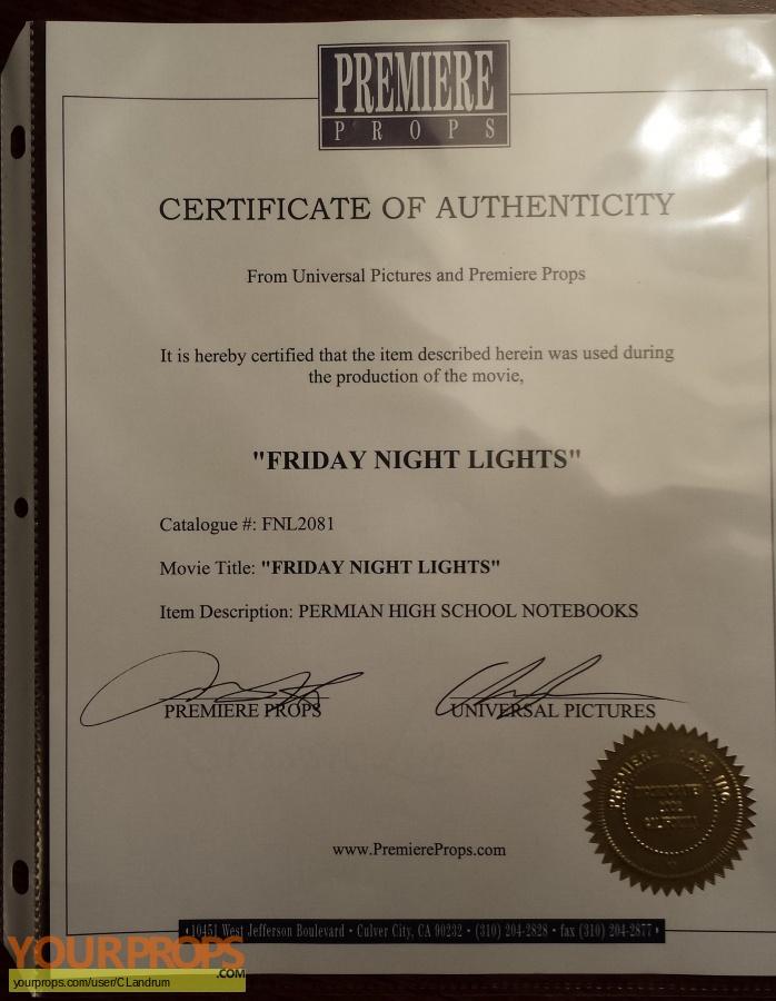 Friday Night Lights original movie prop