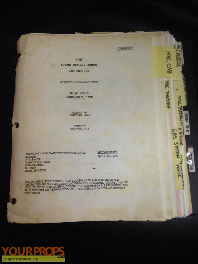 Young Indiana Jones Chronicles original production material