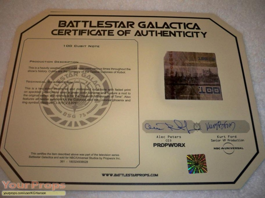 Battlestar Galactica original movie prop