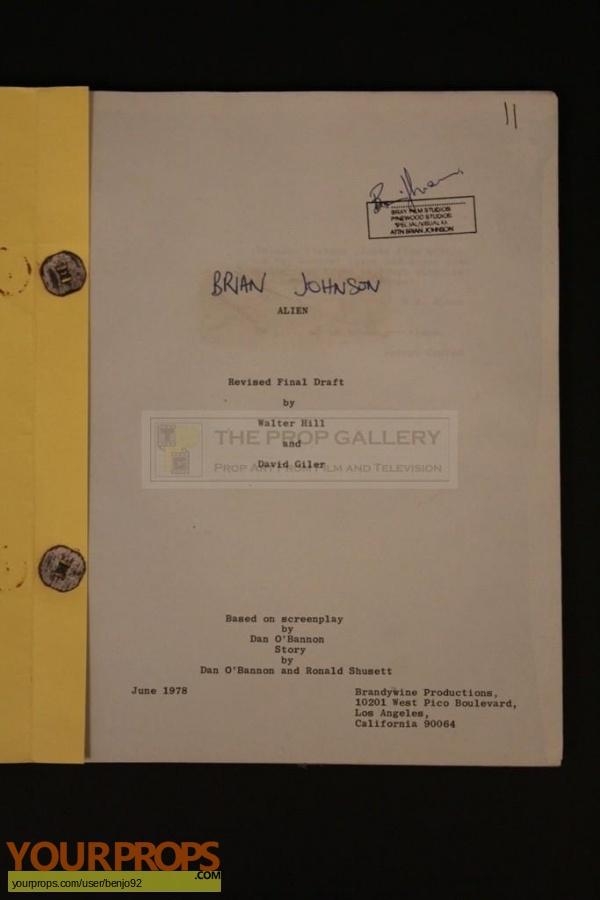 Alien original film-crew items