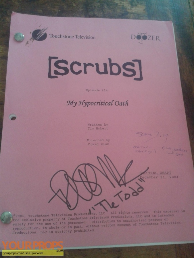 Scrubs original production material