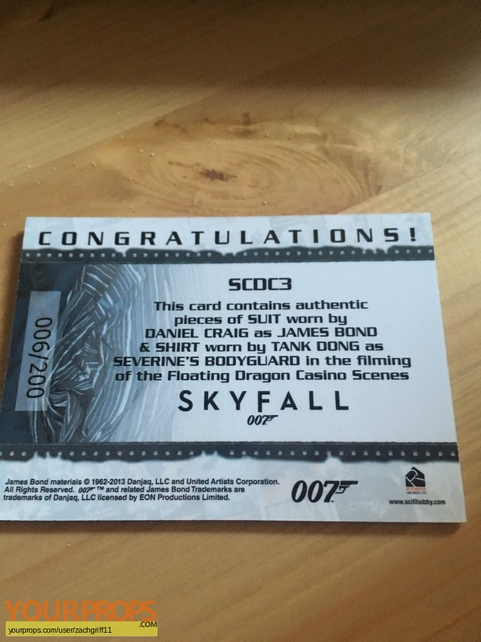 James Bond  Skyfall swatch   fragment movie costume