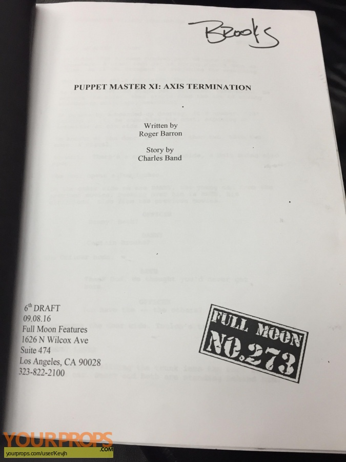 Puppet master axis termination original production material