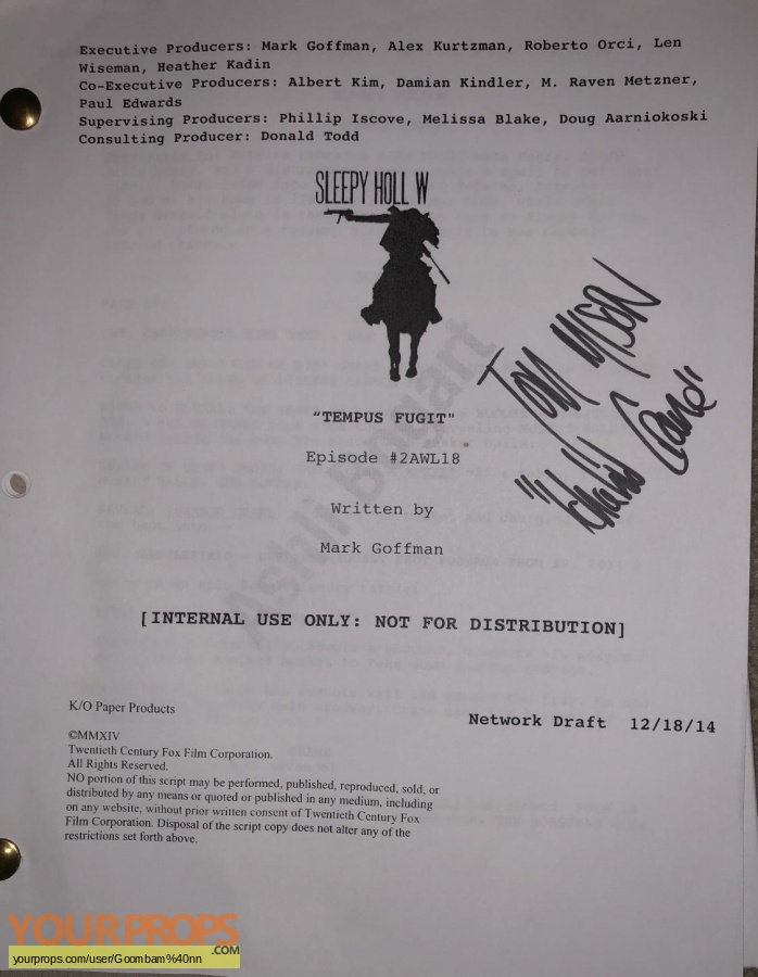 Sleepy Hollow original production material