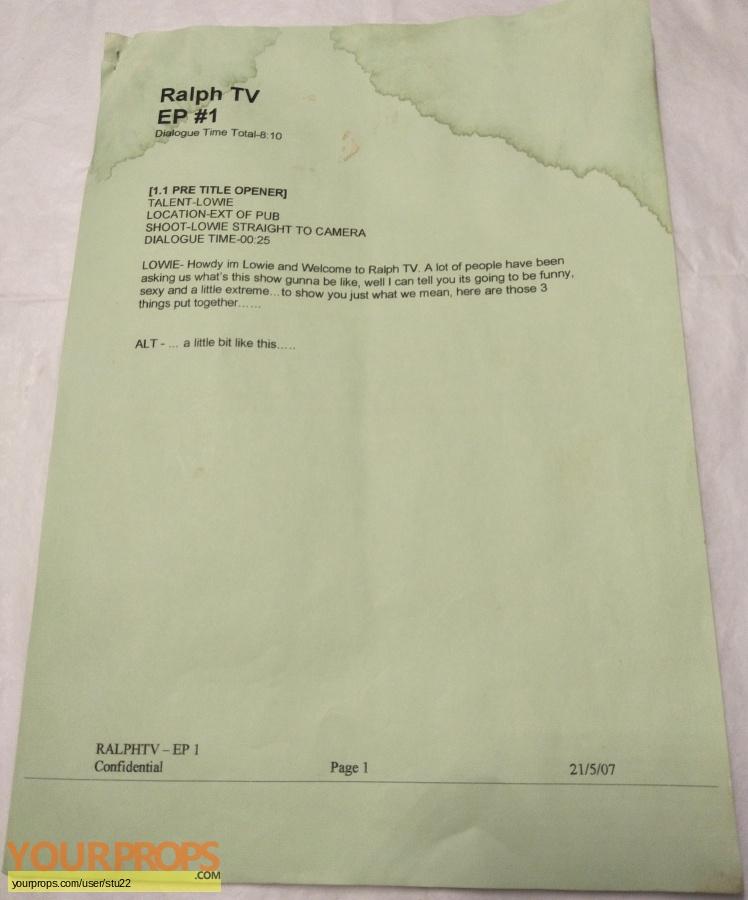Ralph TV (TV 2007 2008) original production material