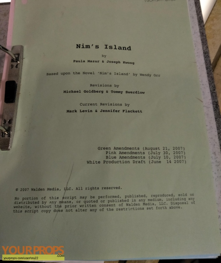 Nims Island original production material