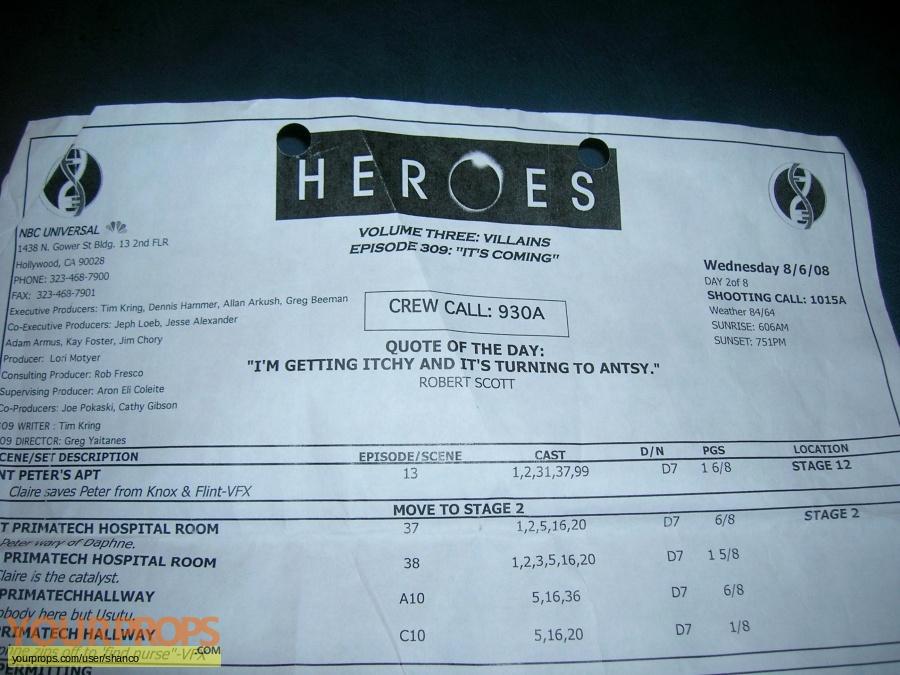 Heroes original production material