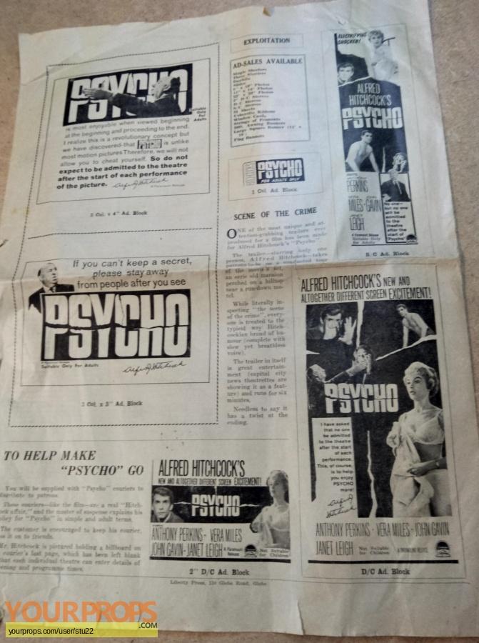 Psycho original production material