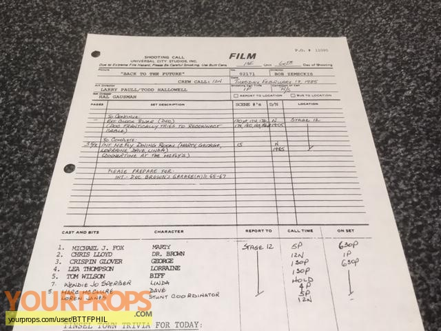 Back To The Future original production material