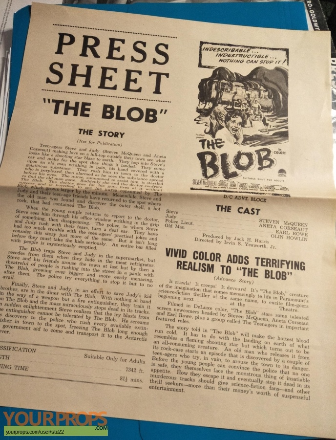 The Blob original production material