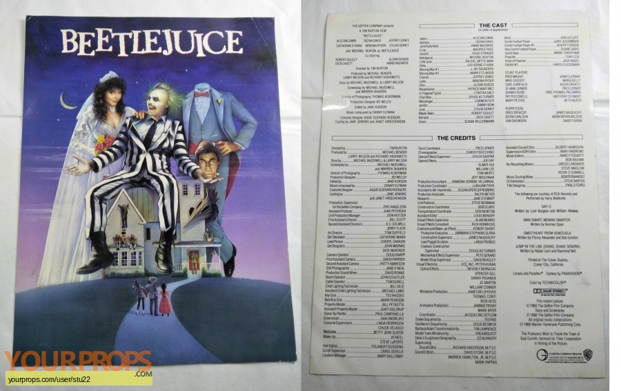 Beetlejuice original production material