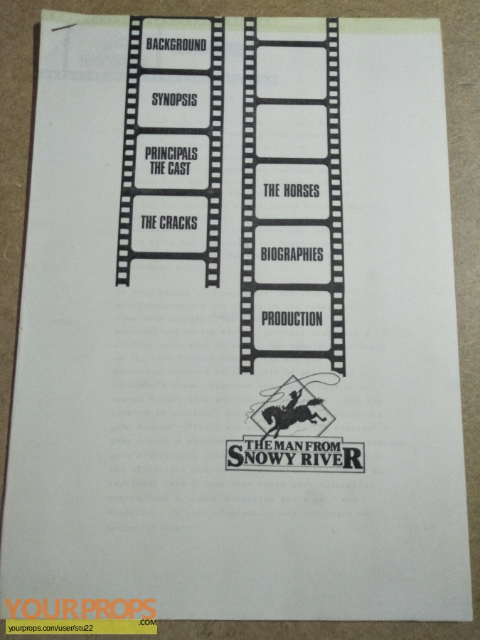 The Man From Snowy River original production material