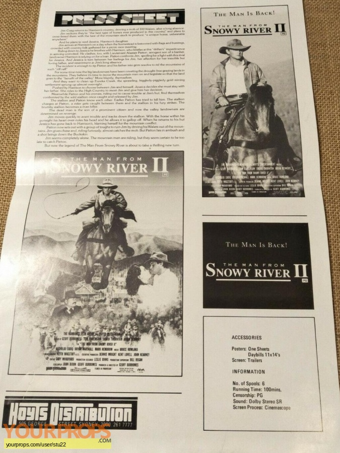 Return To Snowy River original production material