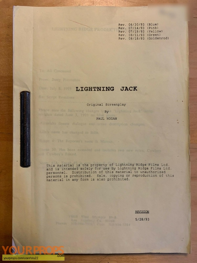 Lightning Jack original production material