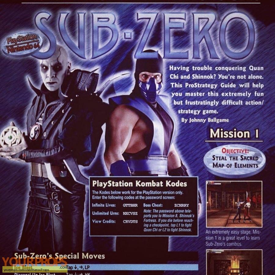 Mortal Kombat Mythologies  Sub Zero original movie prop