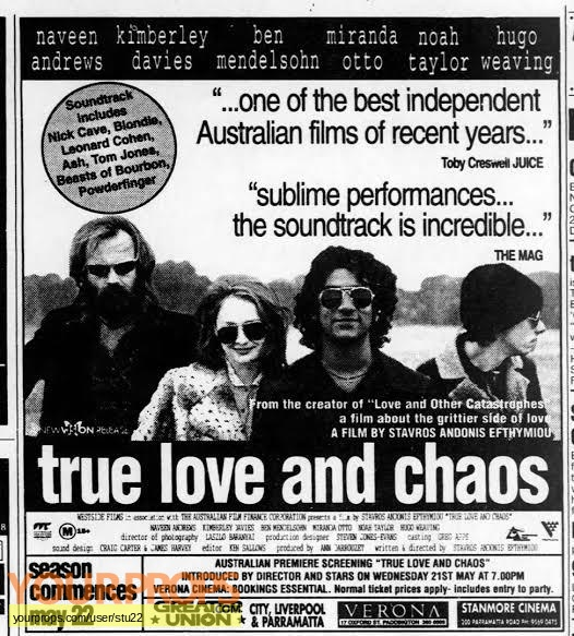 True Love and Chaos original production material