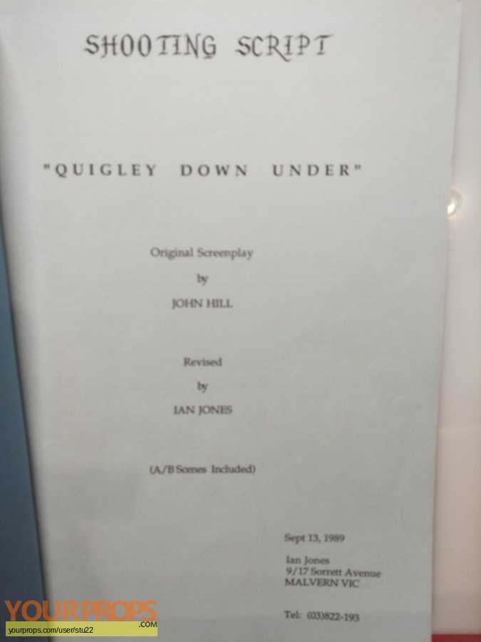 Quigley Down Under original production material