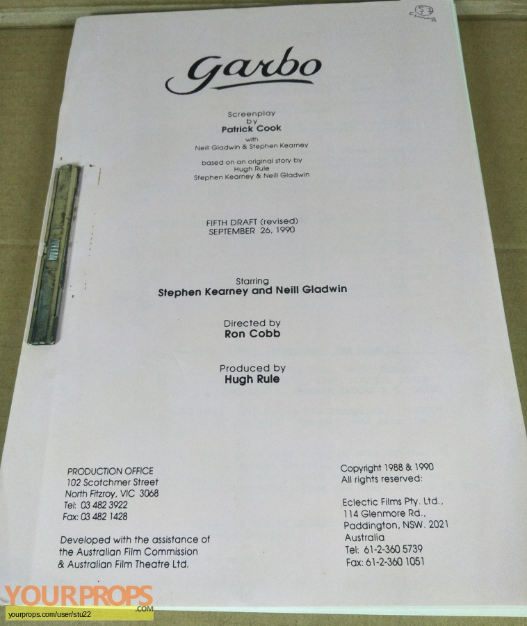 Garbo original production material