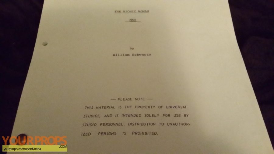 Bionic Woman TV 1977 original production material