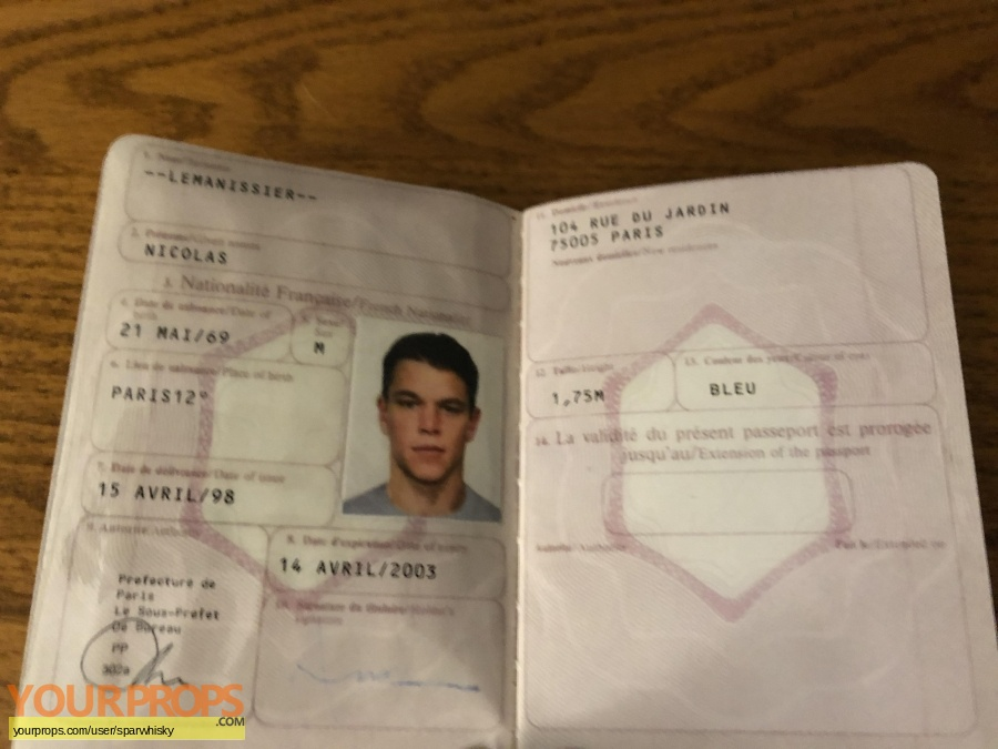 The Bourne Identity replica movie prop