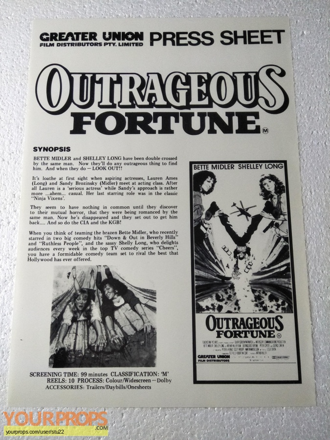 Outrageous Fortune original production material