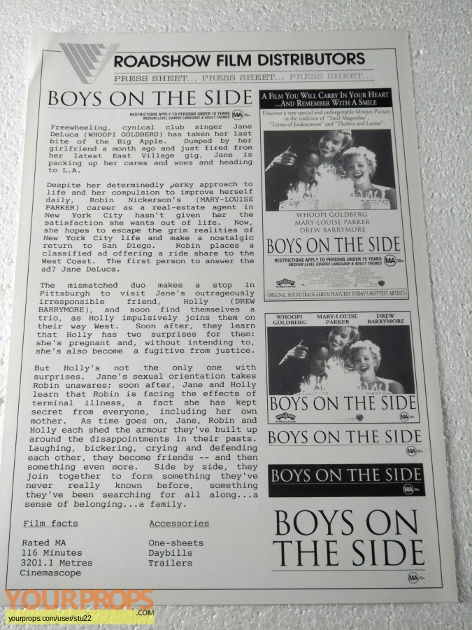 Boys on the Side original production material