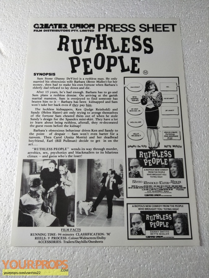 Ruthless People original production material