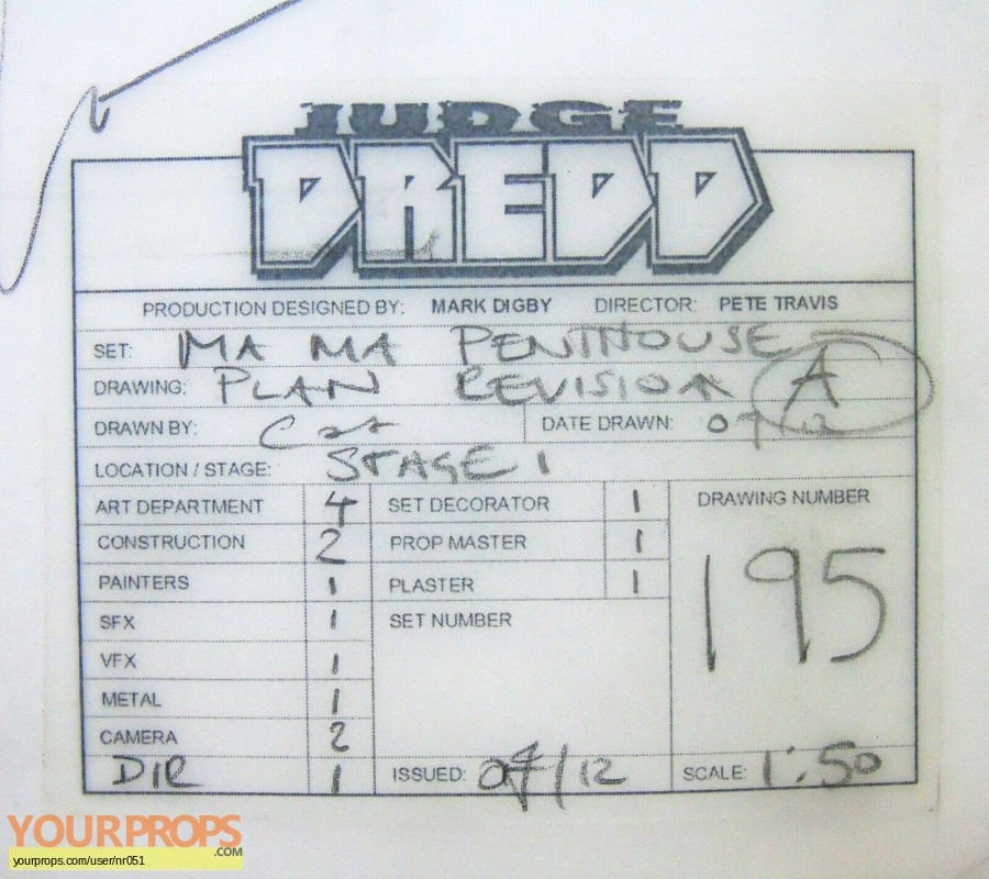 Dredd original production material