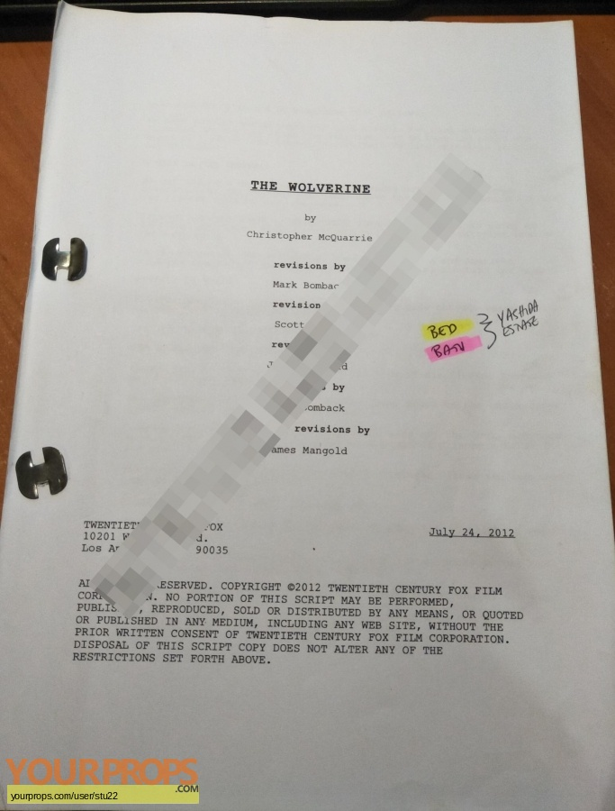 The Wolverine original production material