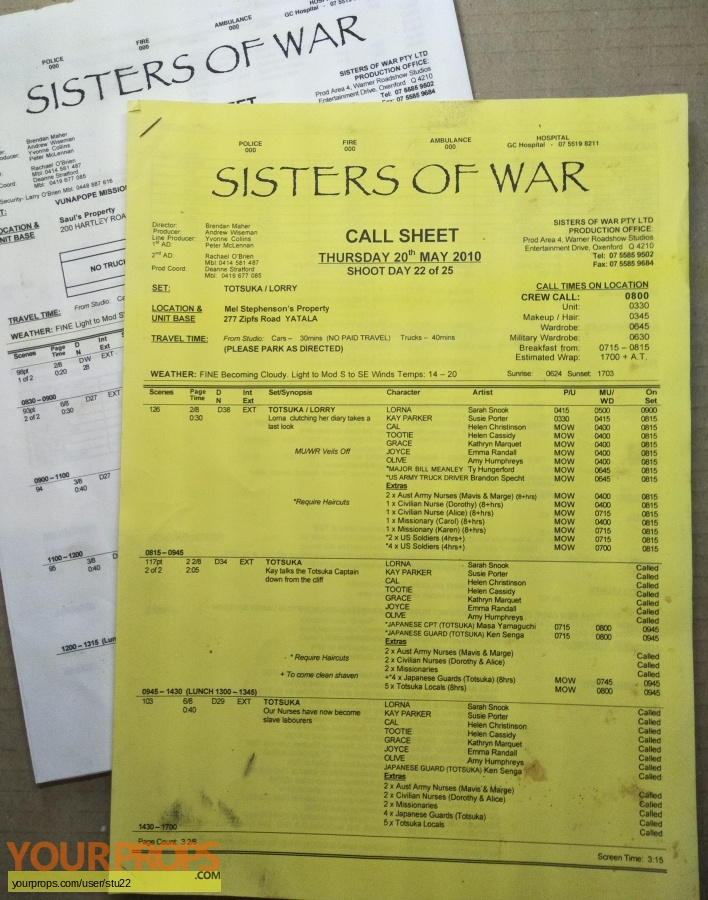 Sisters of War original production material