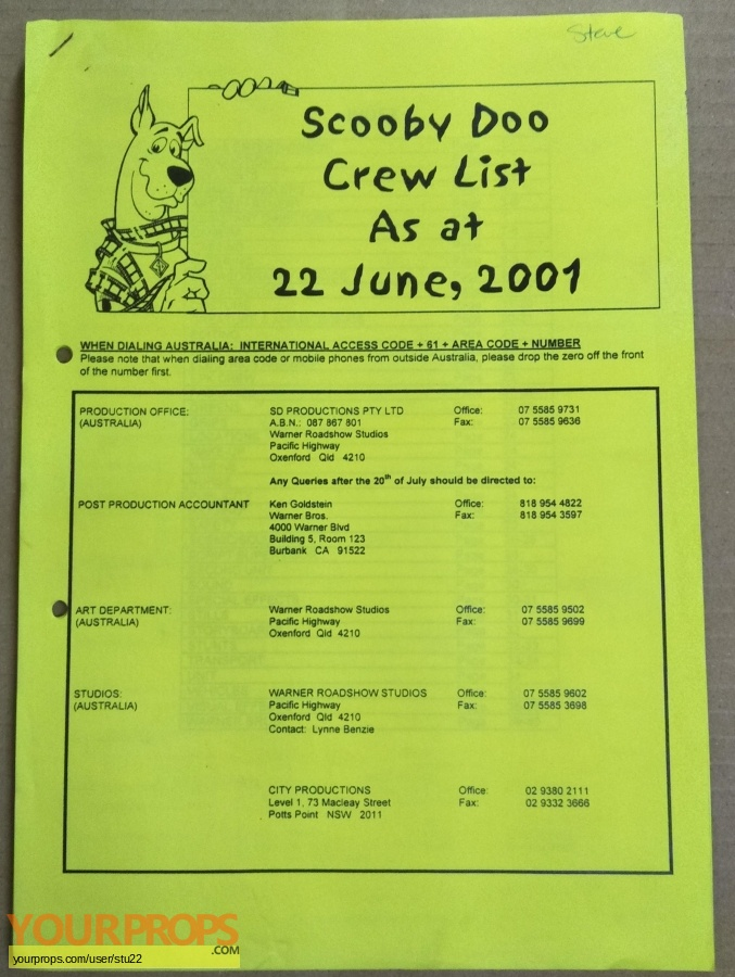 Scooby-Doo original production material