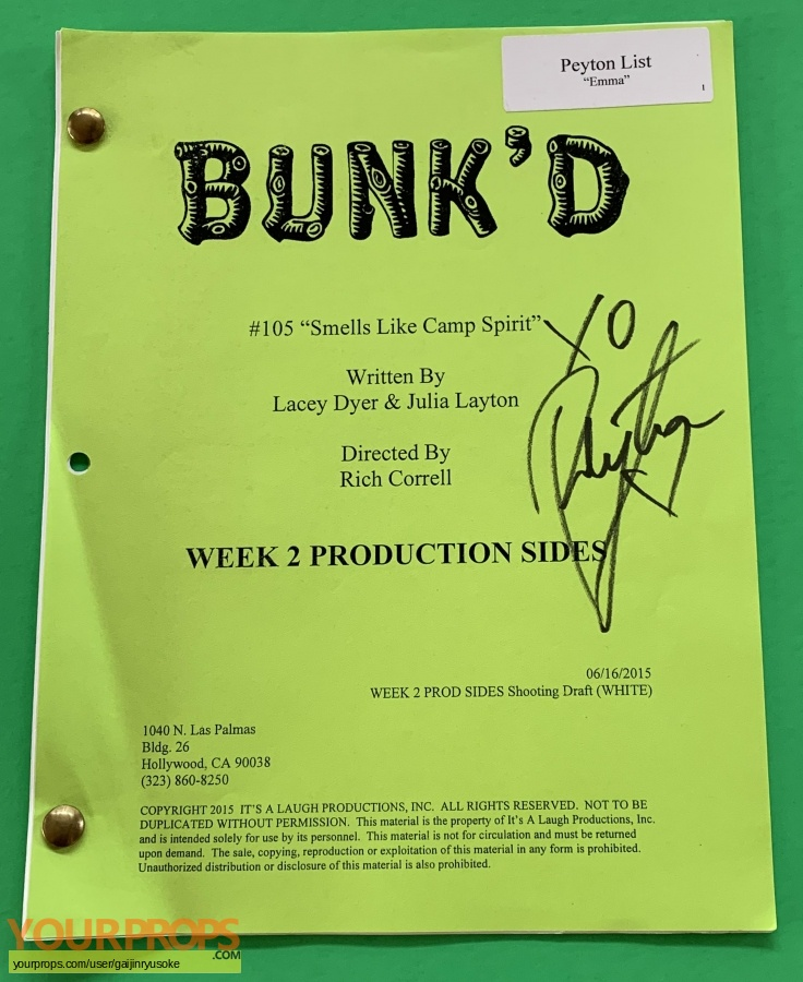 Bunk k  (2015-2020) original production material